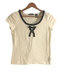Liz Claiborne Cream & Black Ruffle Bow Top Size S